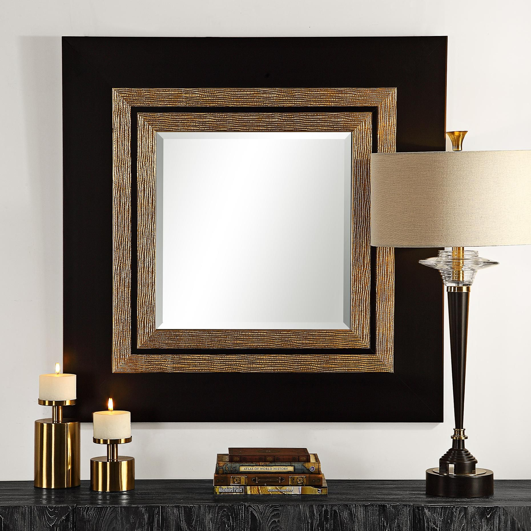 Faisal Black And Champagne 42 Inch Square Oversized Wall Mirror