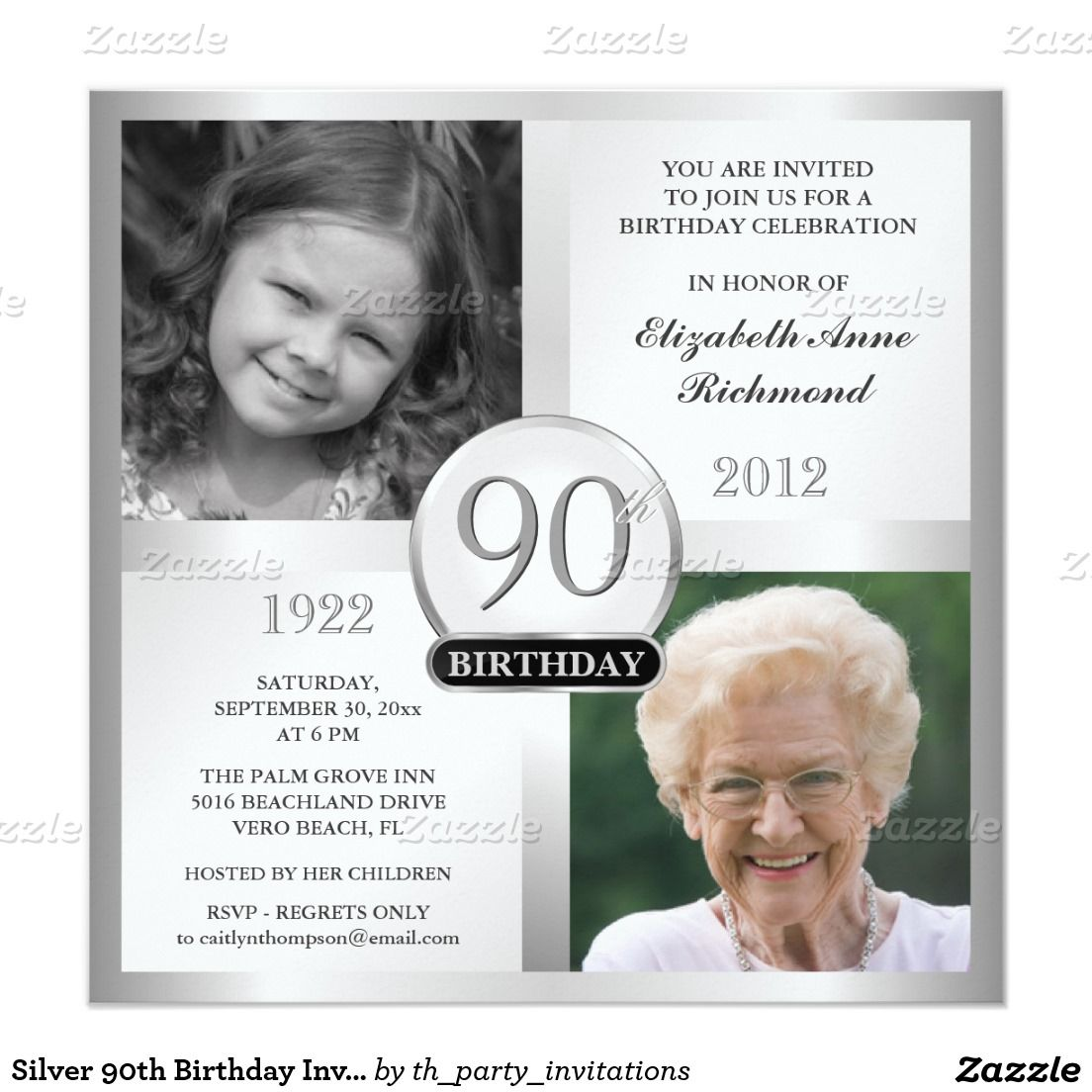 Silver 90th Birthday Invitations Then & Now Photos | PARTY IDEAS ...