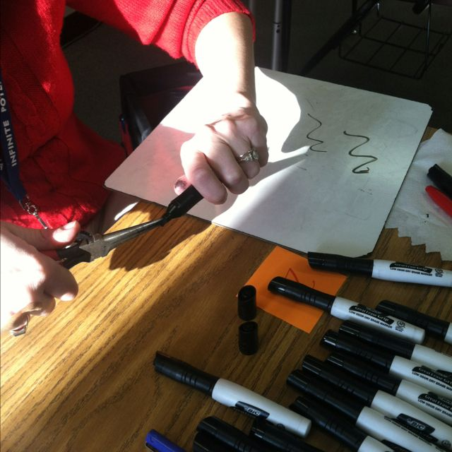 Use pliers to pull out tips of dry erase markers. Flip your tip and save your marker! So cool!