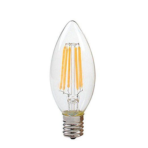LuxonLED電球 フィラメントE17金口電球色相当(6w) シャンデリア電球 蝋燭型