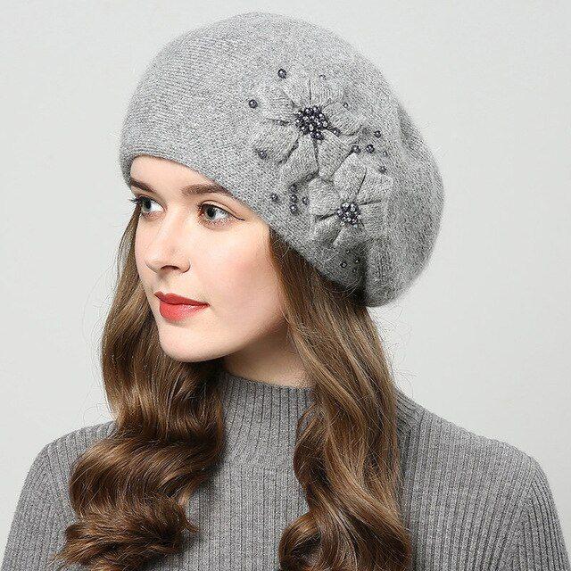 Wintermützen Strickmütze Pearl Inlay Baskenmützen Damenmütze touca inverno double laye …   – Products