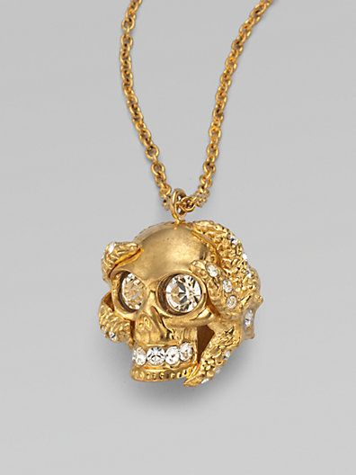 Alexander McQueen - Swarovski Crystal Accented Skull Barnacle Pendant Necklace - Saks.com