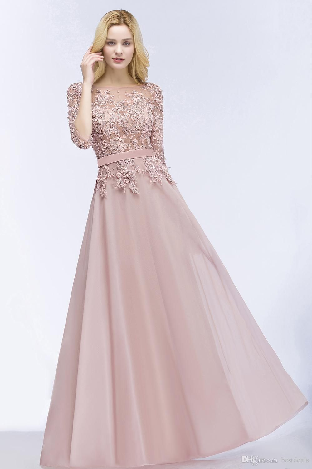 2018 New Designer Blush Pink Long Prom Dresses with Half Sleeves Beaded  Appliqued Cheap Wedding Party Gowns CPS915 01ec2f6ef32a