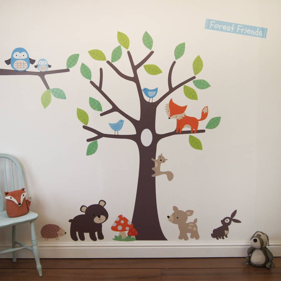 woodland tree wall stickers tree wall forest friends and wall forest friends tree wall stickers