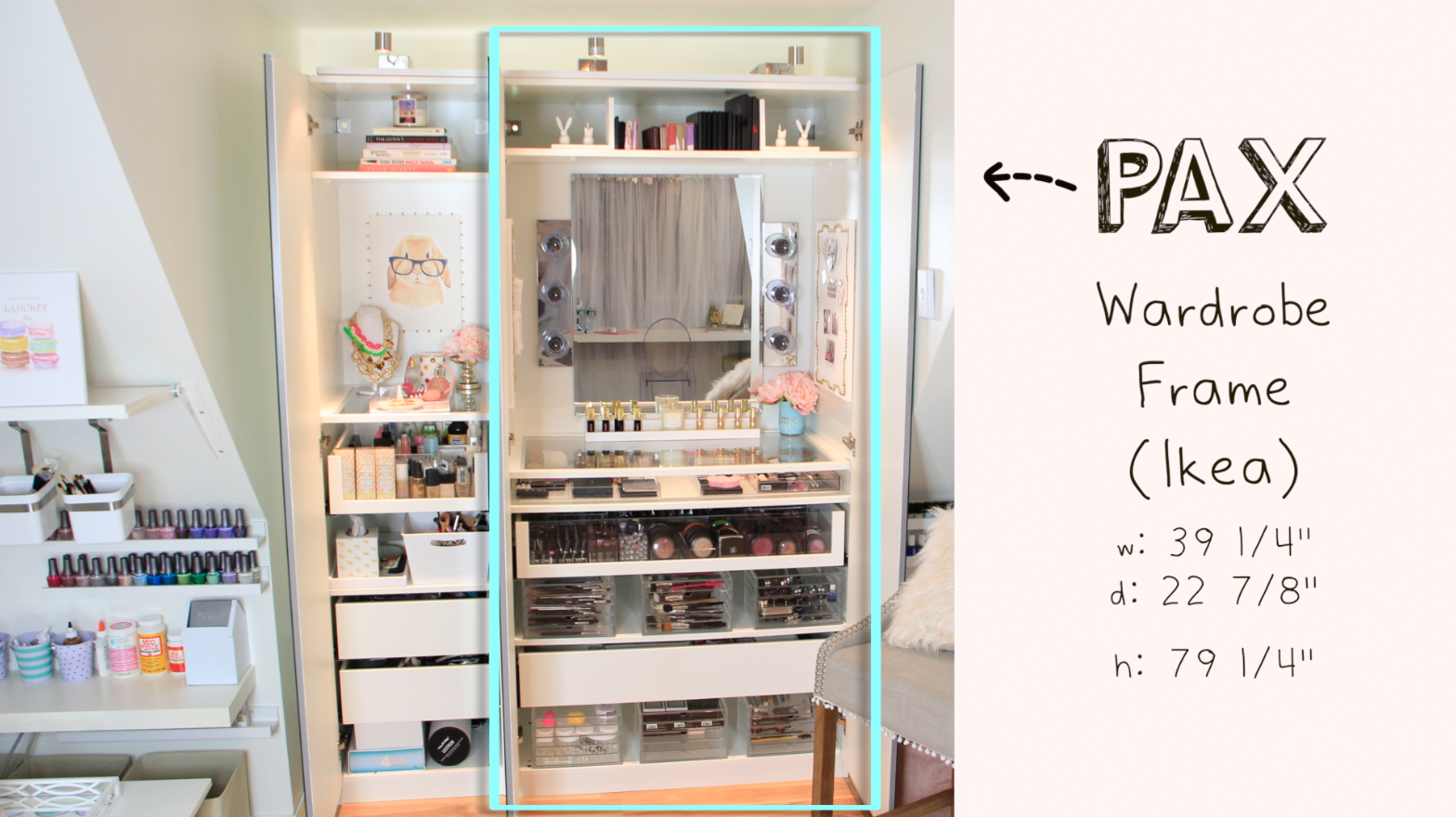 makeup vanity with lots of storage. This pax system with magnetic bases on the pullouts so makeup doesn t move
