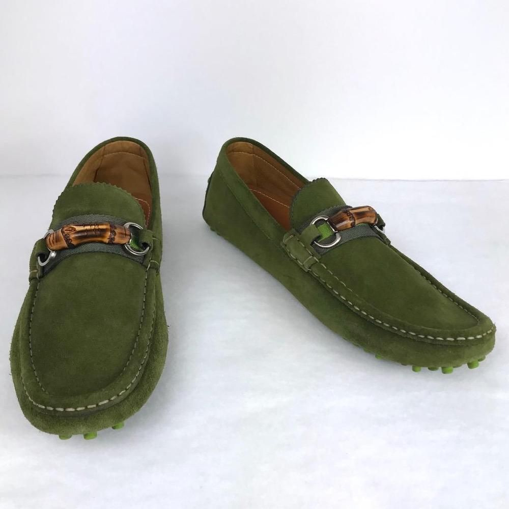 a168715e4 Gucci Green Suede Driver Loafers Size 10 43 9.5 Bamboo Horsebit Shoes Web  Detail | eBay