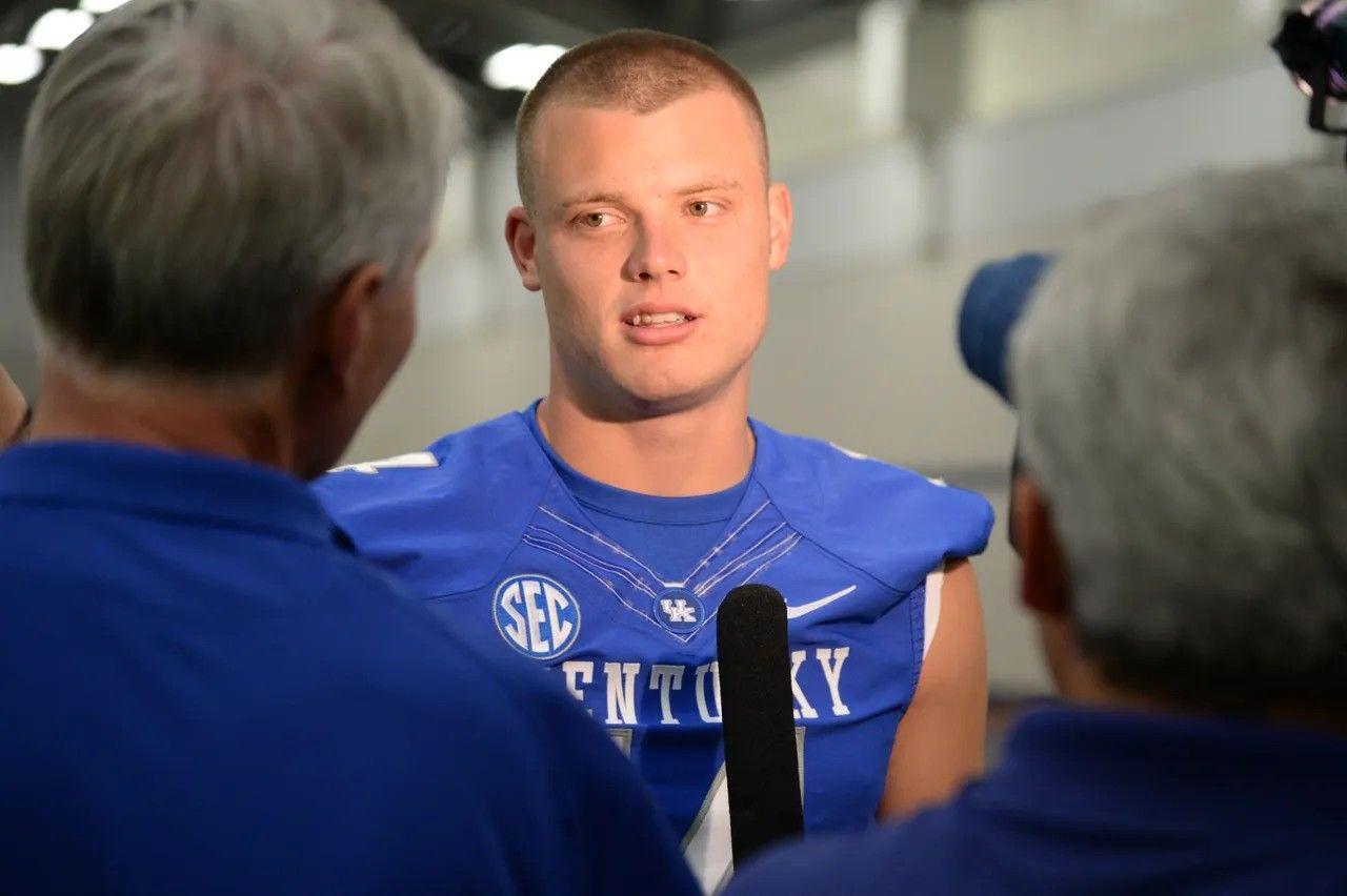 Freshman quarterback Drew Barker is interviewed during the ...