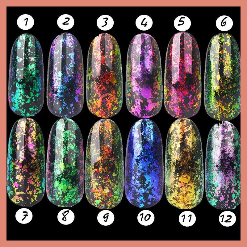 1set 12 color Chameleon flakes pigment Nail Sequins Glitter Dust ...