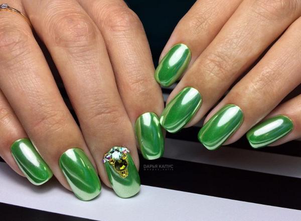 дизайн ногтей с втиркой 2019 3