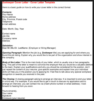 Zookeeper Cover Letter  Browsing The Classifieds