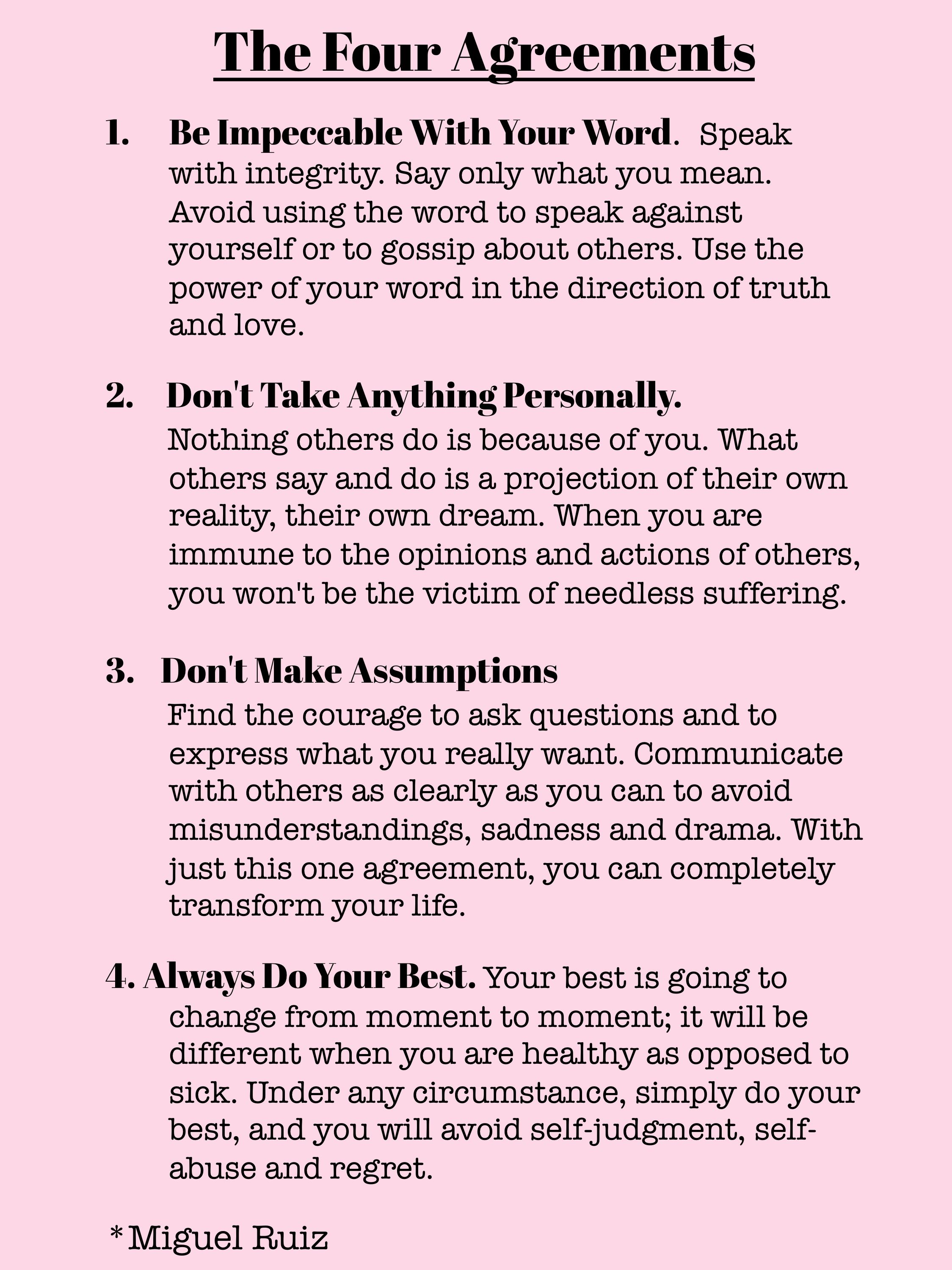Four Agreements Quotes The Four Agreements  Words Of Wisdom  The Tao Of Dana  4