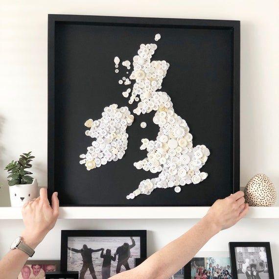 Large 50cm x 50cm monochrome map of the British Isles wall art, black and white room decor #britishisles