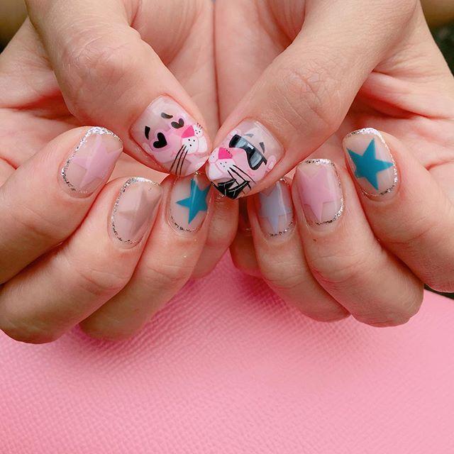 #20160831 실버라이닝 그리고 별별⭐️별 - 가을이니까 #라이더자켓 입은 핑크팬더  #핑크팬더네일#pinkpanther #notd #nails #nailart #gelnails #캐릭터네일#