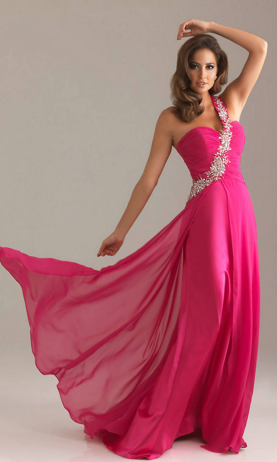 One Shoulder Sequin Embellished Ruched Bust Sweetheart Fuchsia Prom Dress