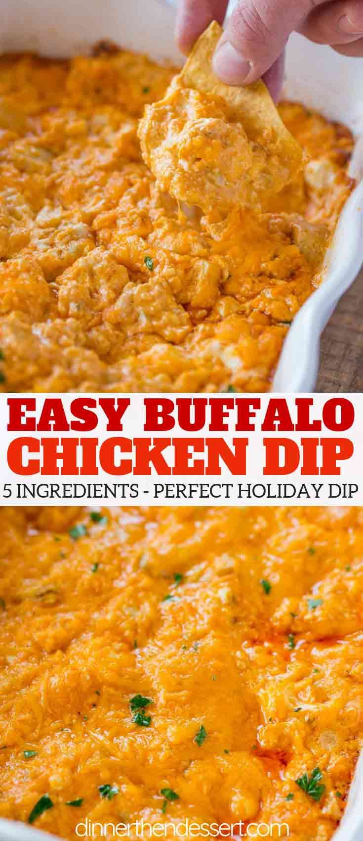 Buffalo Chicken Dip tastes just like buffalo wings dipped in ranch dressing with just five ingredients. No mess and all the flavors you love! |