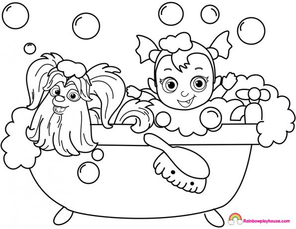 Vampirina Baby Nosy And Wolfie Bathtub Coloring Page Rainbow Playhouse Paginas Para Colorear Disney Dibujos Para Imprimir Paginas Para Colorear Para Imprimir
