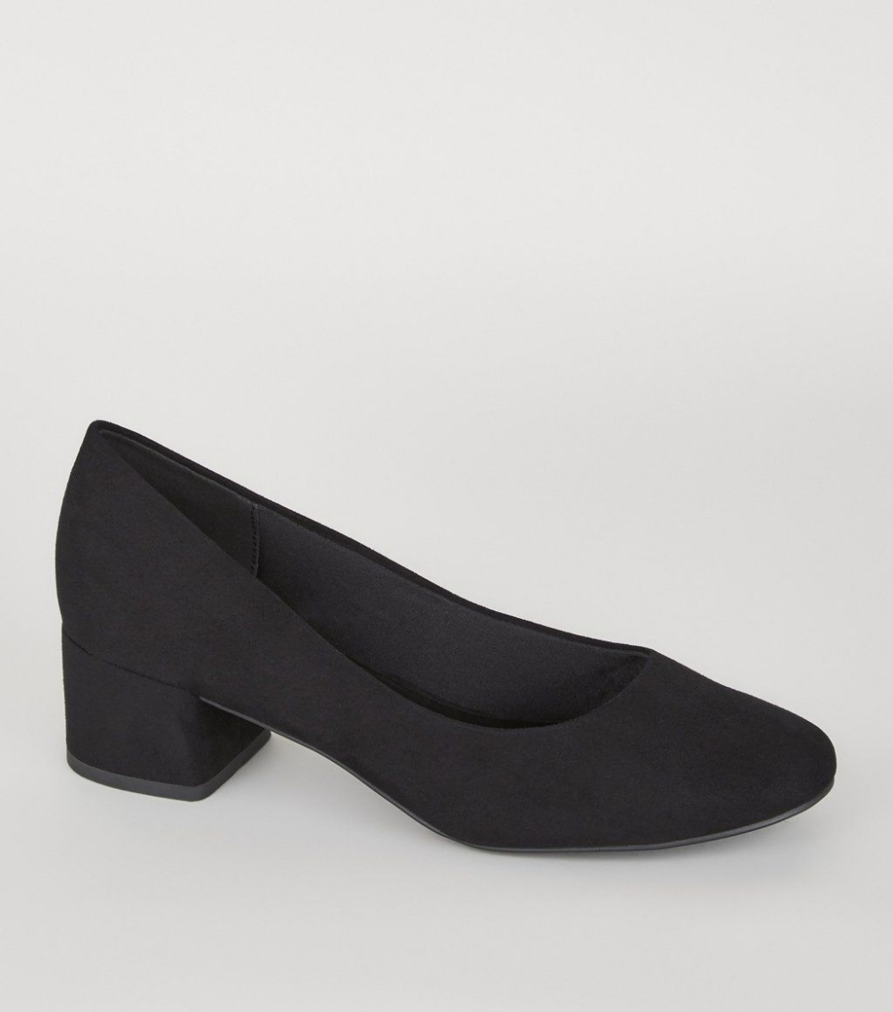 Good For The Sole Black Suedette /'Gianni/' Mid Block Heel Wide Fit Court Shoes