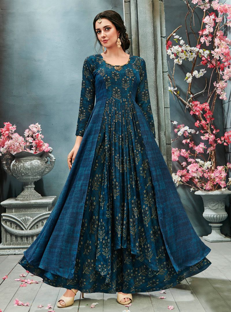 Blue Crepe Readymade Long Gown 144805 Indian Gowns Dresses Stylish Dresses Designer Dresses
