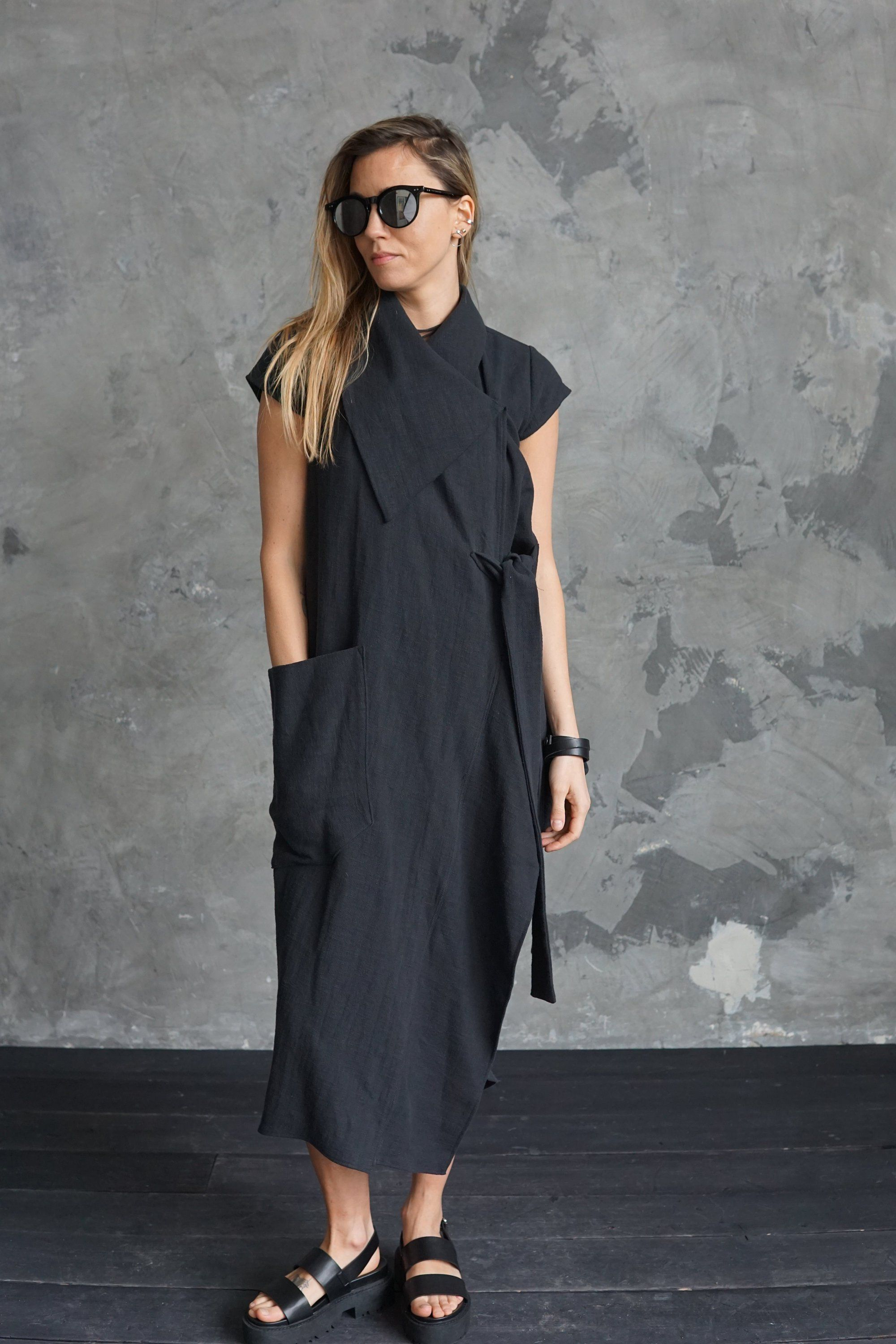 Black wrap dress Ramie black dress Black summer dress