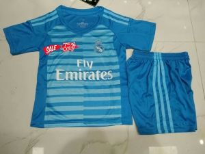 6929993d550 2018-19 Cheap Youth Goalie Kit Real Madrid Blue Replica Soccer Kids Suit  [CFC997]