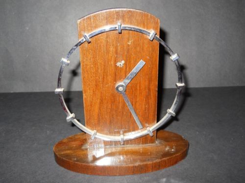 Vintage-original-Art-Deco-Machine-age-modern-Chrome-Wood-CLOCK-Germany-UM-MCM