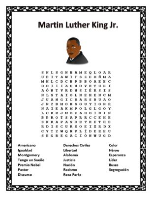 martin luther king jr word search double puzzle spanish from