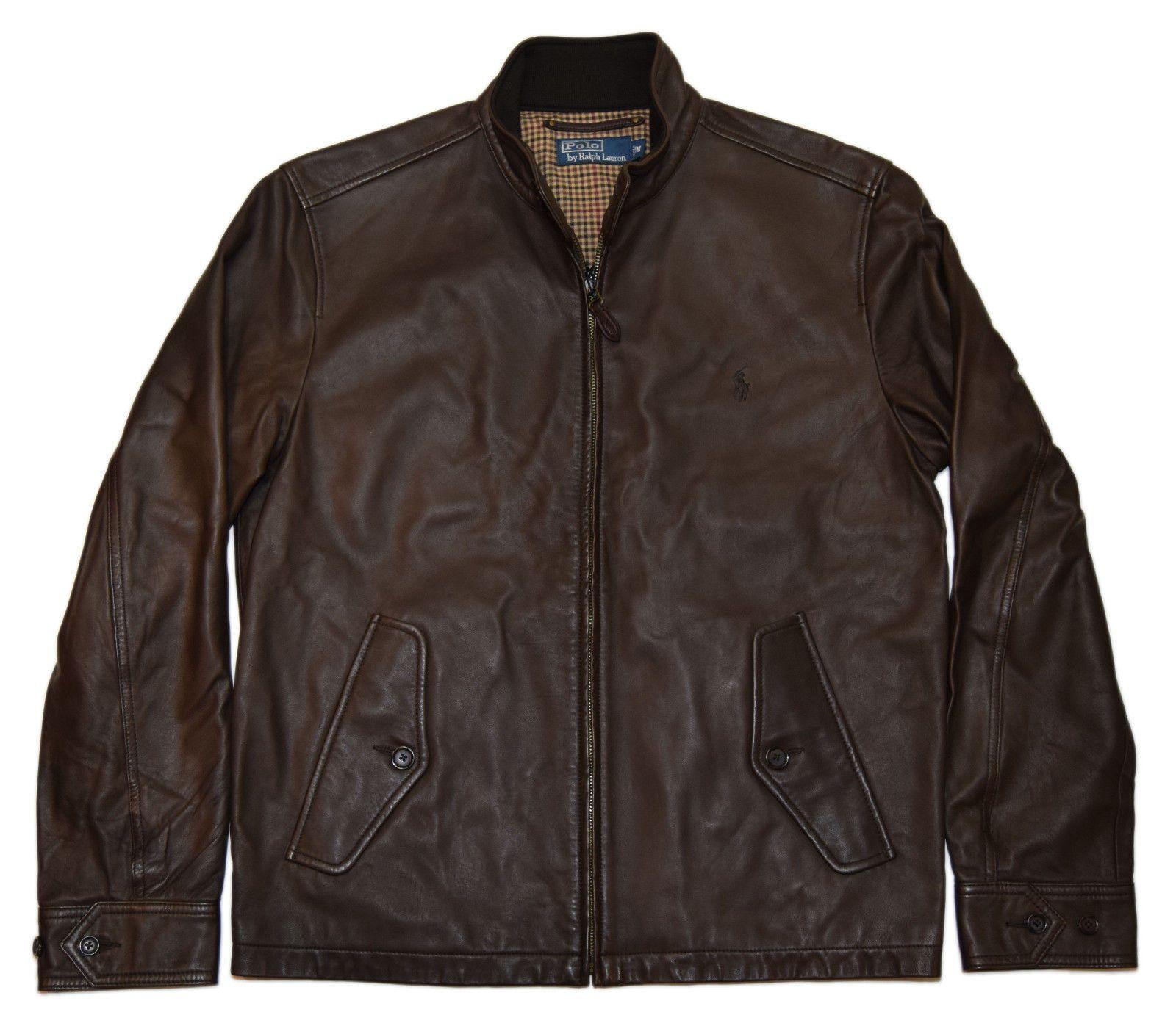 Polo Ralph Lauren Mens Half Full Zip Lambskin Leather Jacket Coat Brown Small Lambskin Leather Jacket Leather Jacket Leather Jacket Men [ 1397 x 1600 Pixel ]