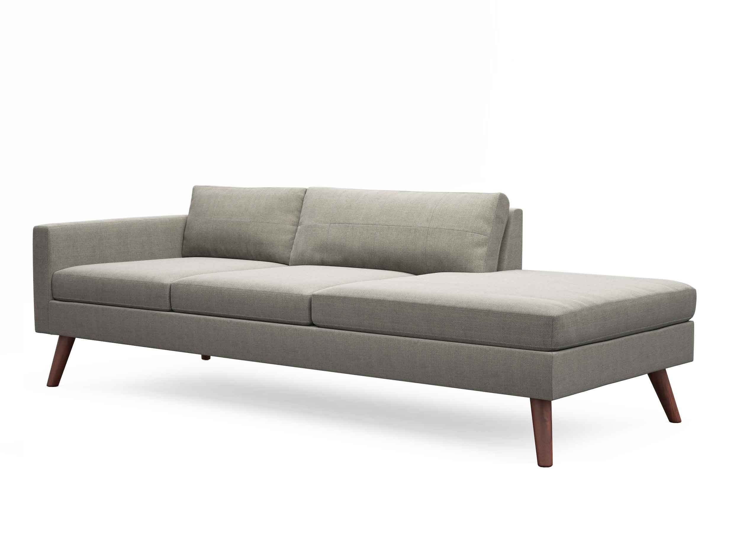 Chaise sofa - Minimalist Left Arm Chaise In White Sofa Leather Finishing Completed Concrete Arm Rest Also