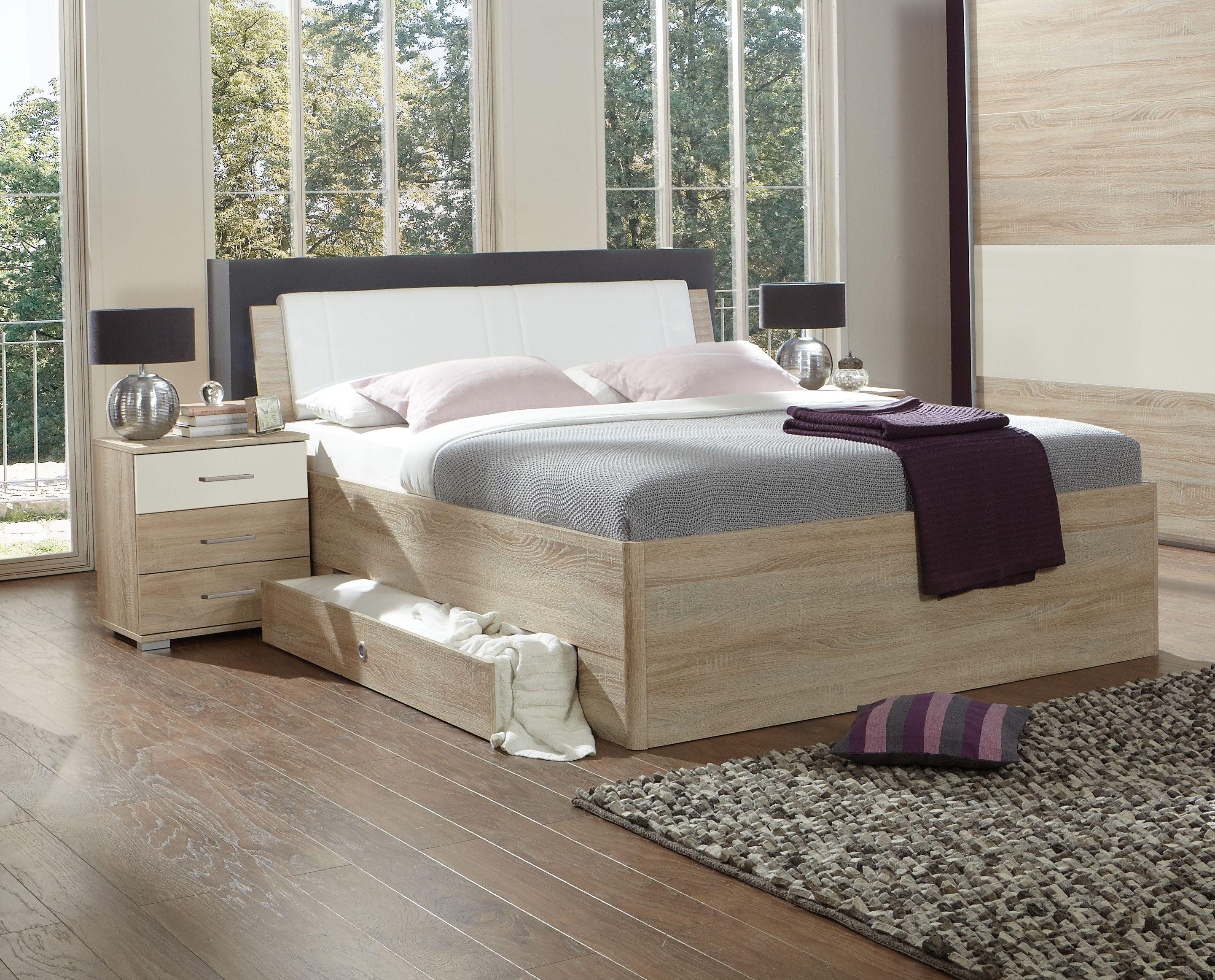 Bett 180 X 200 Cm Mit Nako Set Eiche Sägerau/ Weiss Woody 132 01416 Holz  Modern Jetzt Bestellen Unter: ...