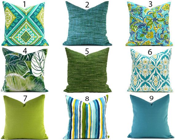Outdoor Pillow Covers Any Size Decorative Home Decor Turquoise Blue Green Designer Throw Pillow Covers You Choose Outdoor Outdoor Decorative Pillows Outdoor Pillow Covers Blue Outdoor Pillows