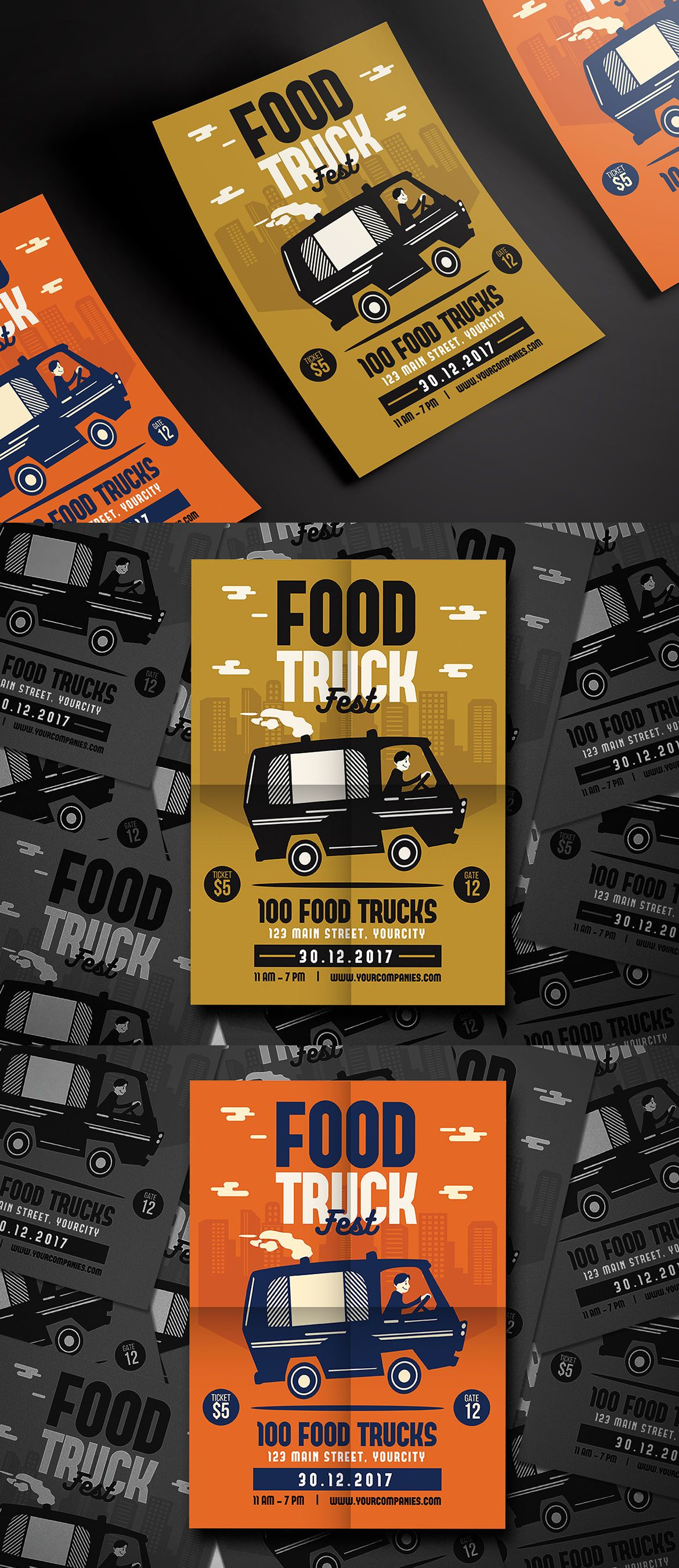 Food Truck Fest Flyer Template AI PSD Poster Design Pinterest - Food truck flyer template