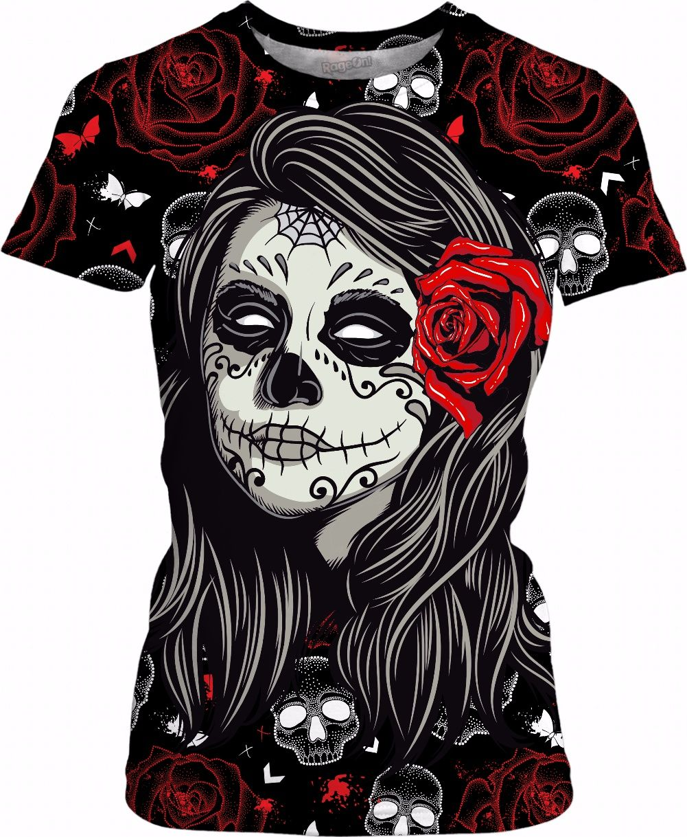 c40bda3fc Sugar Rose Skull Womens T shirt by: tbird at RageOn! - for more art and  design be sure to visit also www.casemiroarts.com, item printed by RageOn.