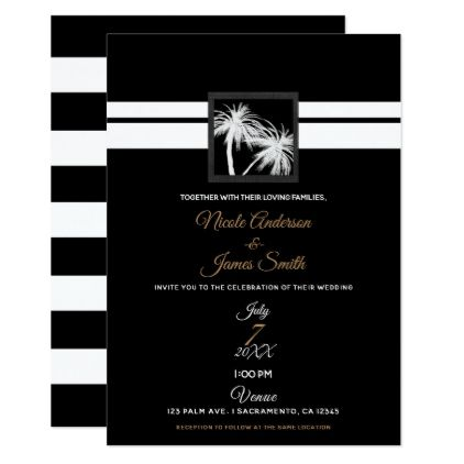 Black White Tropical Palm Trees Modern Wedding Card Wedding card