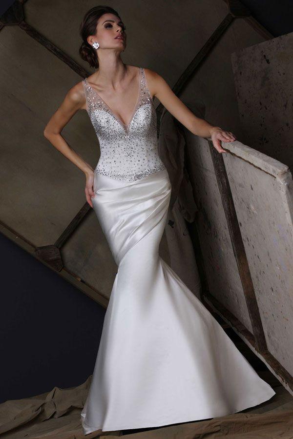 Victor Harper bridal gown style VH190 in satin #vneck #tankstraps ...