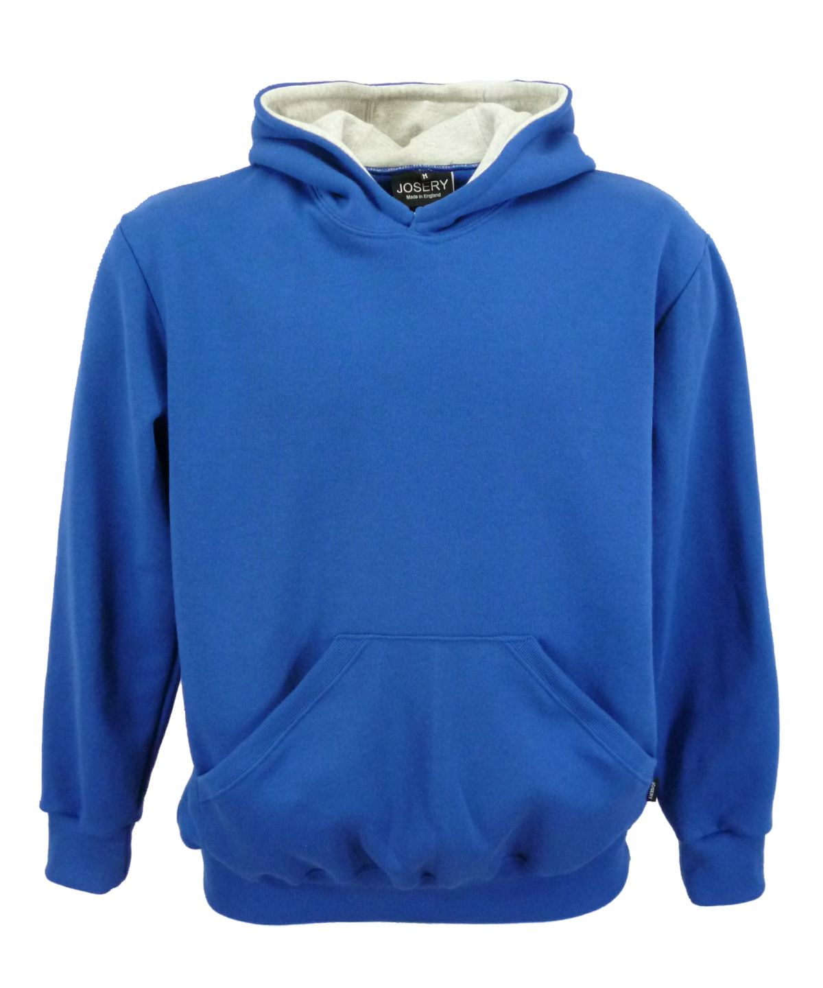 Royal blue hoodie with grey marl hood lining. Pullover style. Made ...