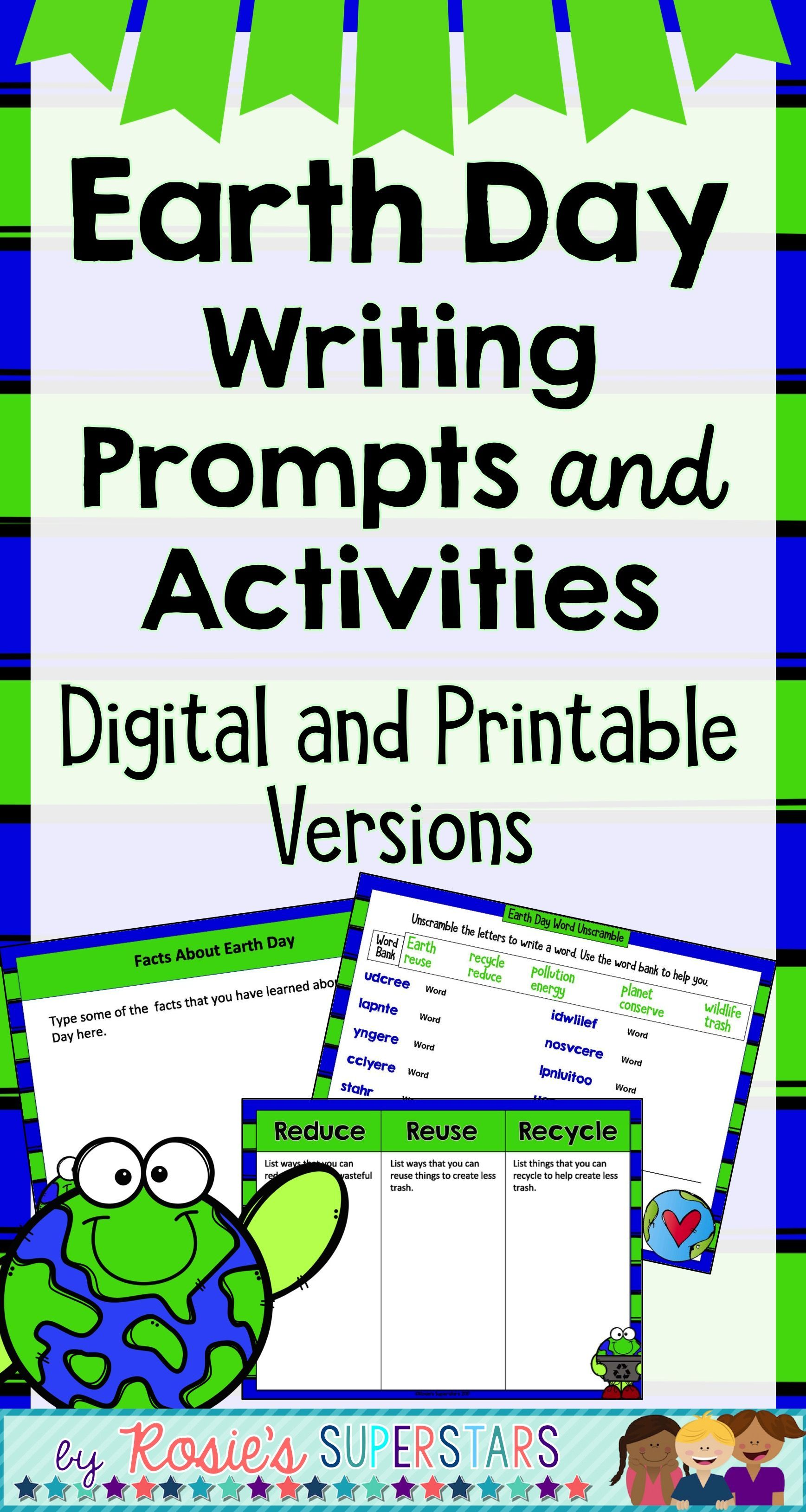 Earth Day Writing Prompts And Activities Digital And