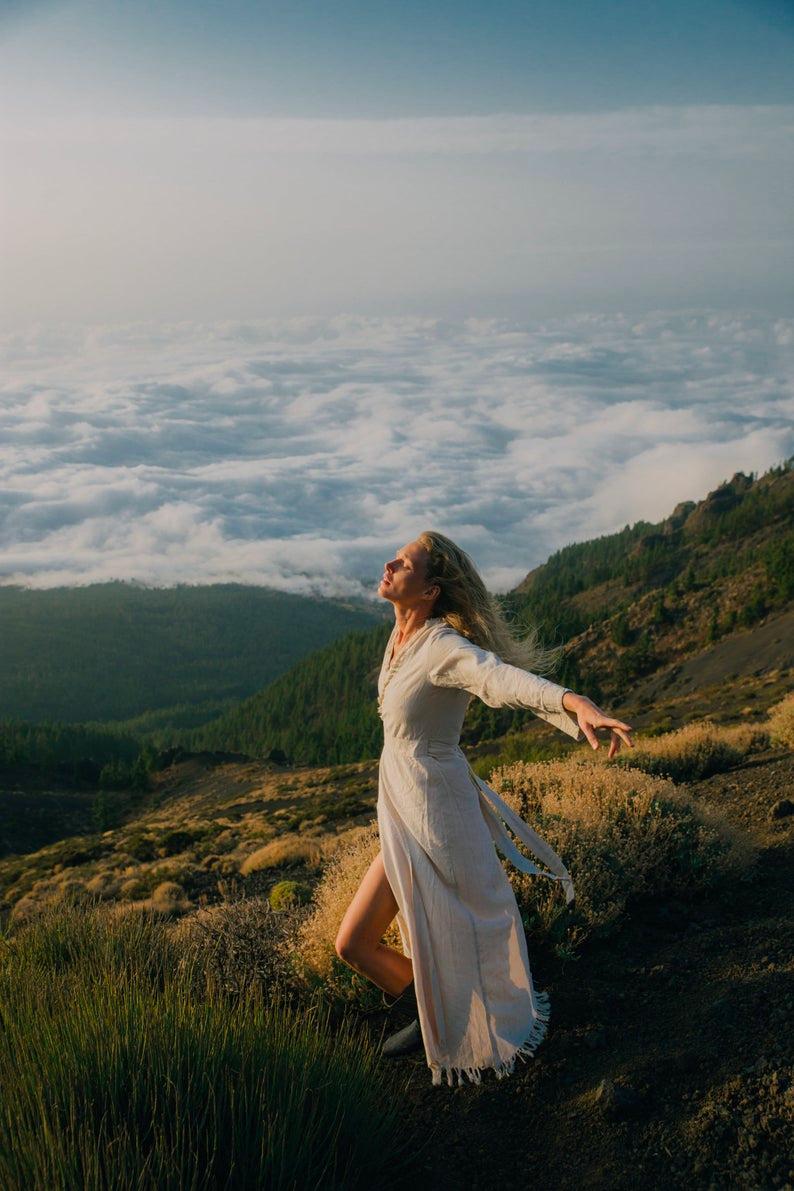 White Wrap Dress ∆ Long Sleeve Maxi Boho Dress ∆ Raw Cotton Fringe Dress Kaftan ∆ Women Kimono Wrap Gown ∆ Medieval Organic Dress/ Off White