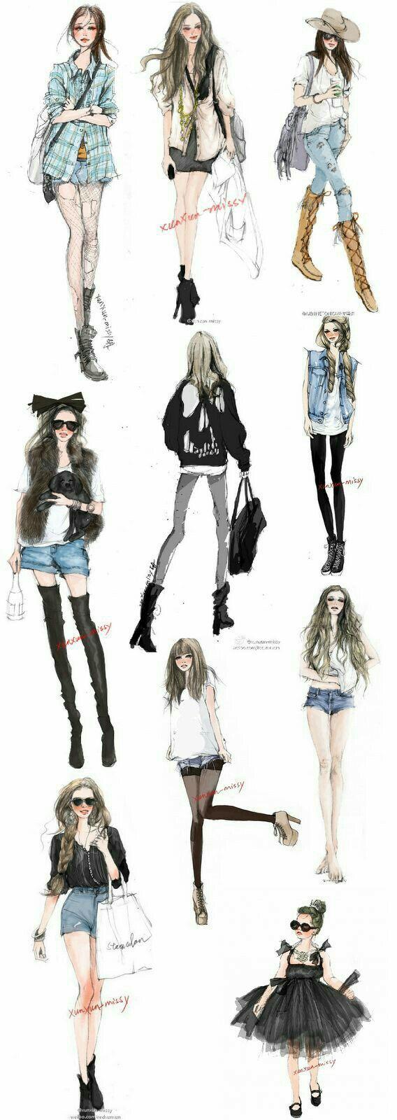 Bien-aimé Casual fashion illustration ~ | fashion | Pinterest | Croquis de  PC61