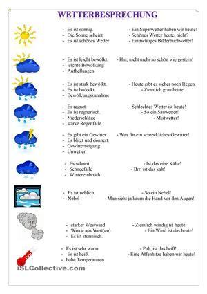 Wetterbesprechung | Arbeitsblätter, Grammatik und Deutsch