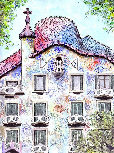 casa batllo drawing  Google Search  Travelege  Gaudi Watercolor art y Drawings