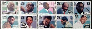 Postage stamps commemorating jazz musicians were unveiled during The Monterey Jazz Festival in California in 1995.