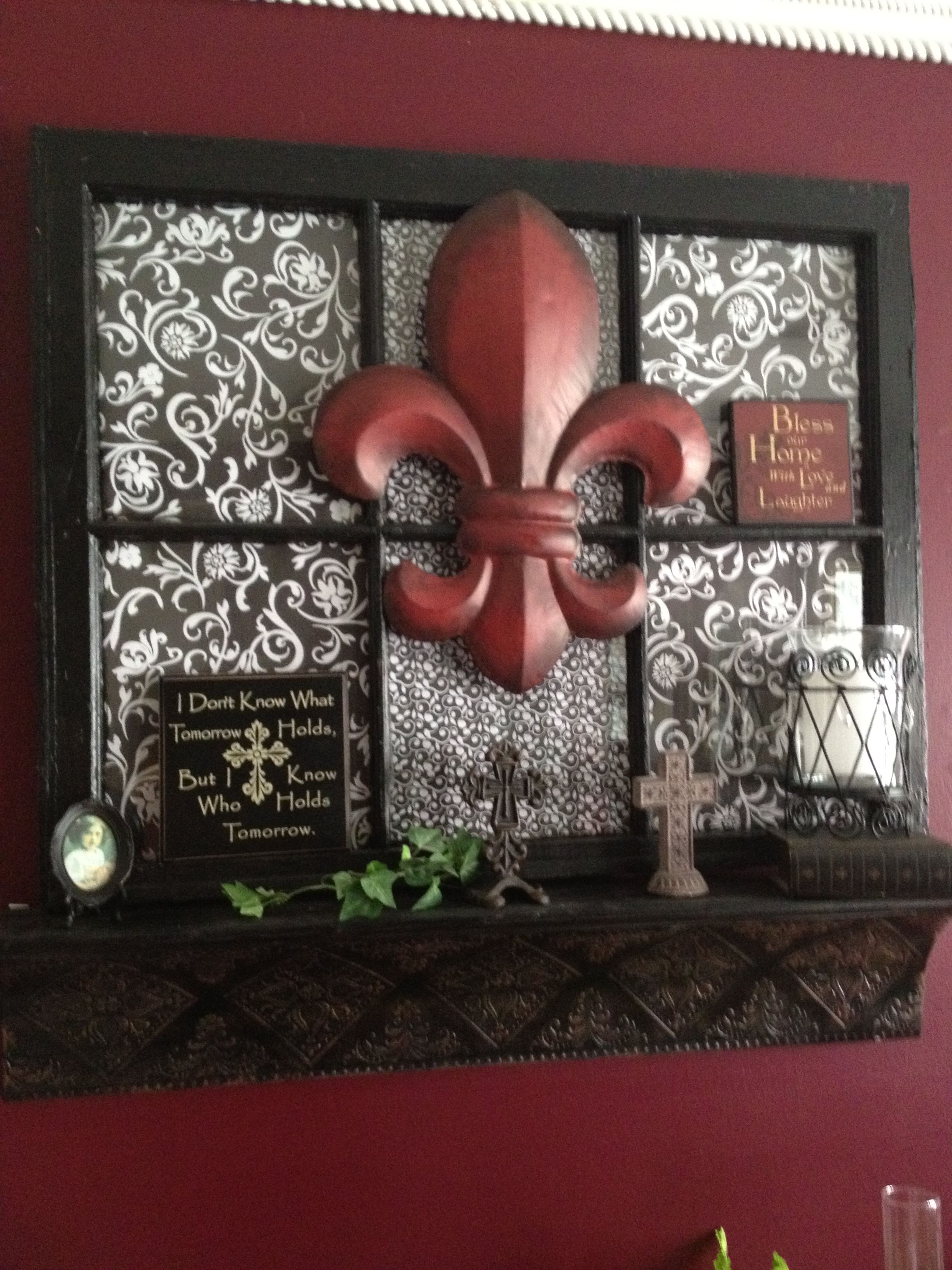 Old window shelf. Would use pictures and monogram letter