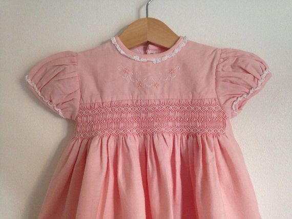 Vintage Pink Smocked Harrods Baby Dress Sweet Vintage Baby Clothes