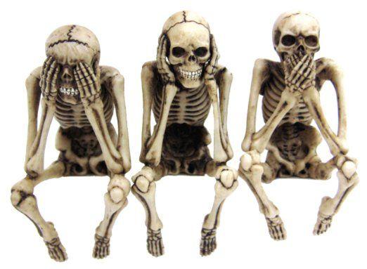 Skelett kantenhocker 3er set figur fantasy deko sch del skulls - Drei affen deko ...