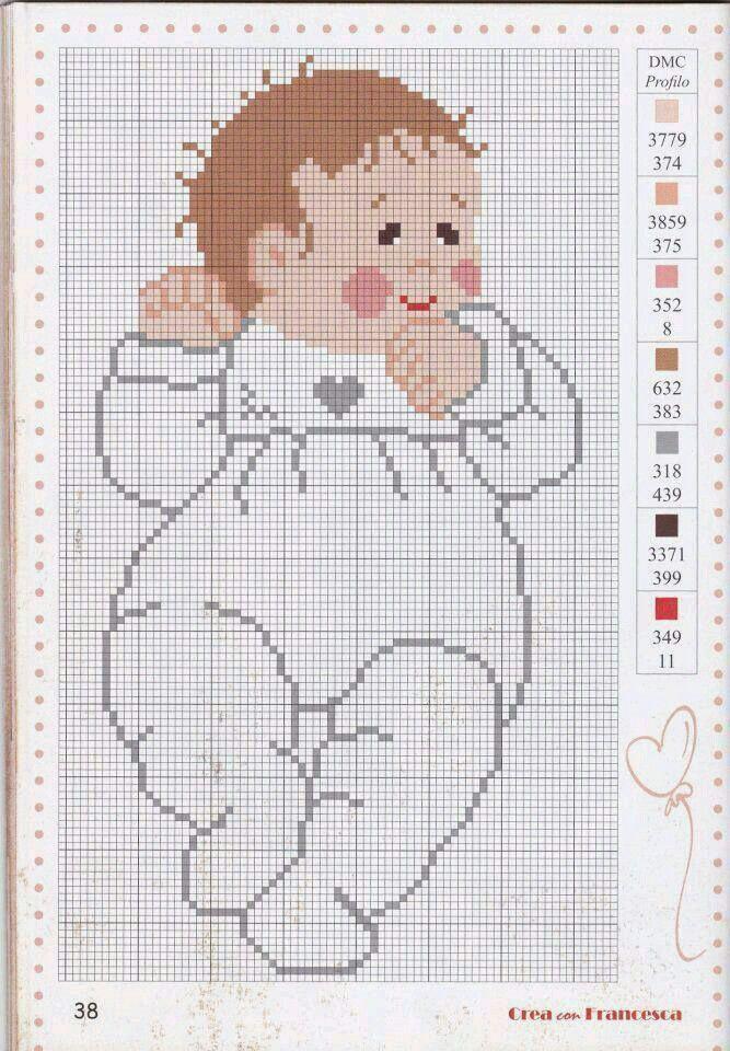 Pin de Tina Fernández en Niños | Pinterest | Punto de cruz bebe ...