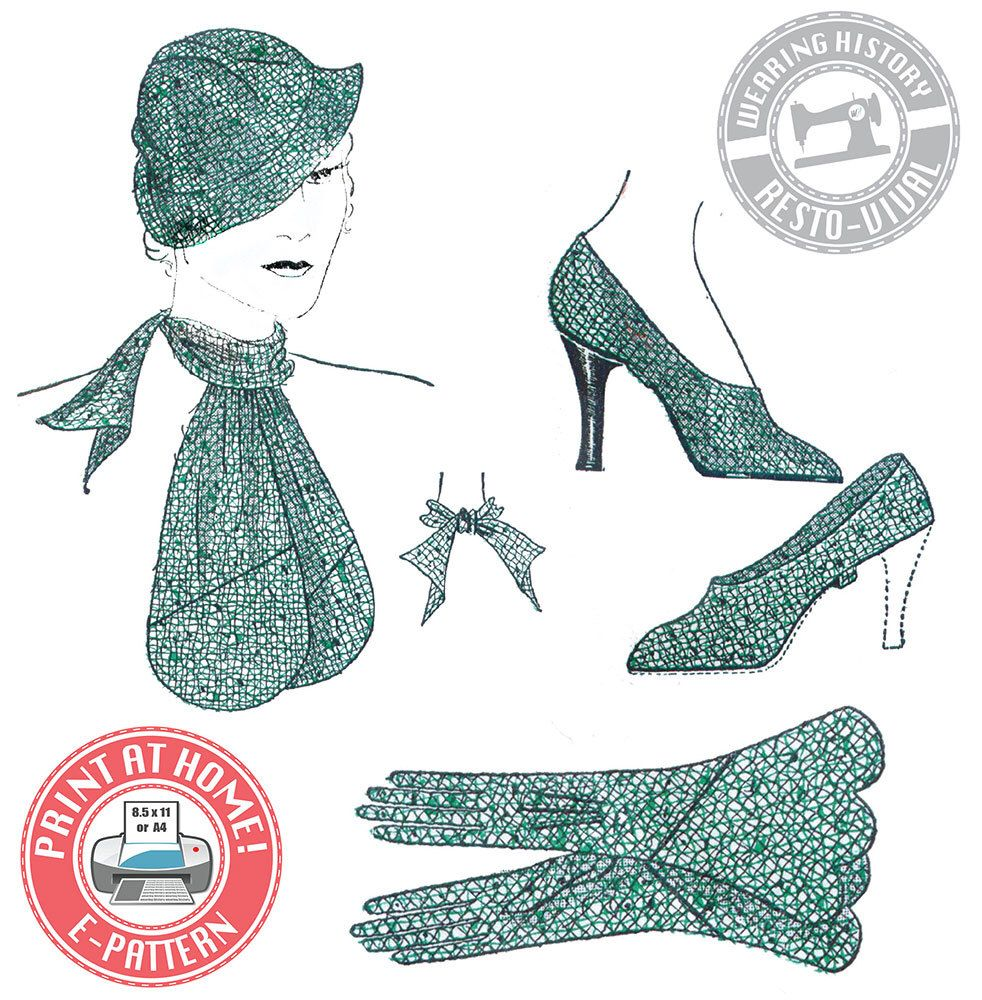 E Pattern 1930s Accessories Hat Gloves Scarf And Spats