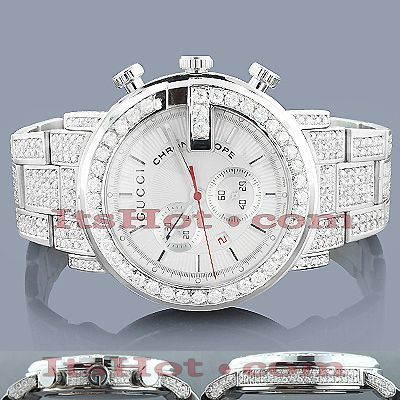 80229c53b0d This Genuine Mens Gucci Chrono Diamond Watch is paved with 10 carats of genuine  diamonds