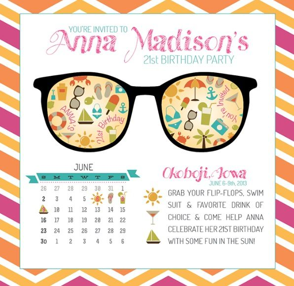 21st birthday party invite magnet custom design available at