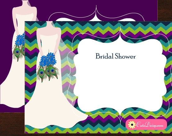 Free Printable Peacock themed Bridal Shower Invitations - free templates for bridal shower invitations