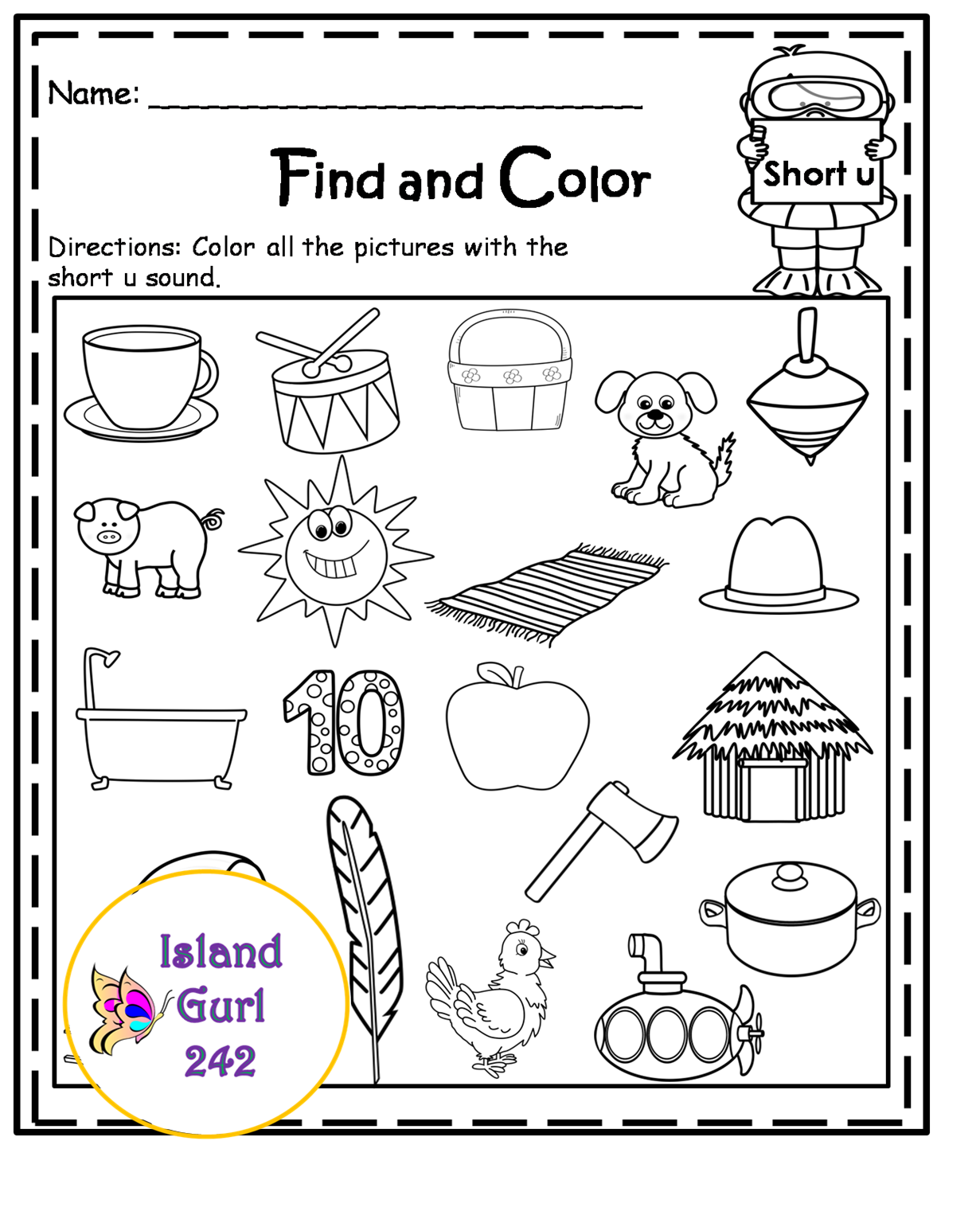 Find And Color The Short U Words Find This And More